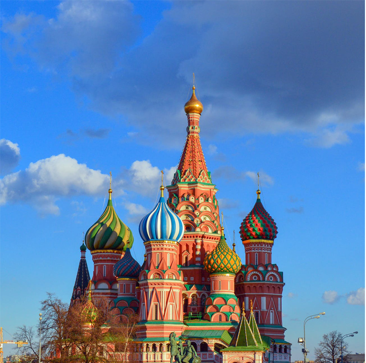 The famous St. Basil's Cathedral in Moscow, Russia